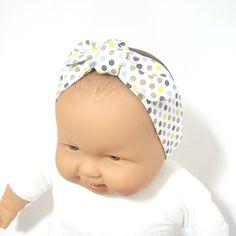 Bandeau bébé à pois multicolores, bandeau à nouer Tricotmuse : Mode Bébé par tricotmuse