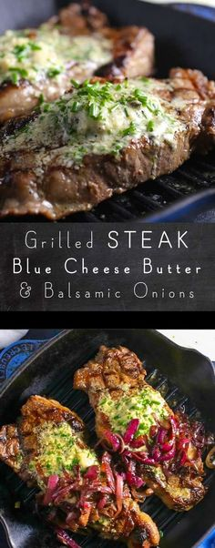 Grilled steak ramped up with a tangy, creamy blue cheese and chive compound butt. - Grilled steak ramped up with a tangy, creamy blue cheese and chive compound butter – watch out, s - Easy Steak Recipes, Grilled Steak Recipes, Healthy Diet Recipes, Grilled Meat, Grilling Recipes, Beef Recipes, Cooking Recipes, Cooking Tips, Grilled Steaks