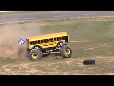 """Higher Education """"COOL BUS""""  putting on a show for the huge crowd at Centre 4 Speed just outside of Shediac Sunday afternoon during the Monster Truck & Demolition Derby. 1958 temperature Record broken on this  hot sunny day & perfect conditions for the show. 4 Trucks in the competition including Black Stallion, Crushstation, Bounty Hunter & High..."""