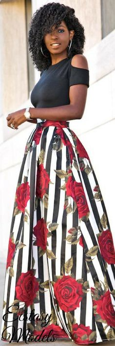 Cold Shoulder Dress + Kai Rose Print Skirt // Fashion Look by Style Pantry