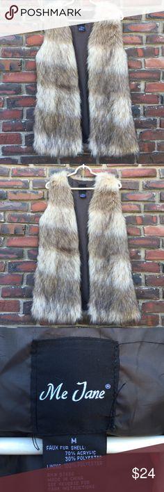 Me Jane Faux Fur Long Vest M Me Jane Faux Fur Long Vest, size medium, open vest, this fast is a little longer than the average vest. Me Jane Jackets & Coats Vests