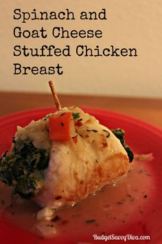 Spinach and Goat Cheese Stuffed Chicken Breast Recipe | Budget Savvy Diva  I made this recipe - BIG thumbs up however some confusion as to red bell pepper or roasted peppers- I did bell and sauteed with the onions