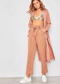 Camilla Camel Pinstripe Paperbag Waist Trouser
