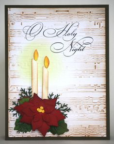 By Gem35 at Splitcoaststampers. Christmas card. Flames from yellow cardstock, inked on edges with Distress fired brick. Candle glow sponged with yellow. Sheet music embossing folder by Tim Holtz; embossed panel inked with Distress tea dye.