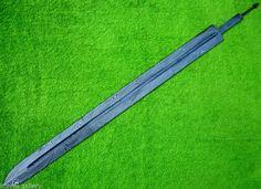 lame d'épée avec simple goutière, en acier damas/Sword blade with single goutier, damask steel