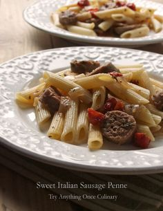 Easy Penne Pasta with Sweet Italian Sausage   www.tryanythingonceculinary.com   Cook your sausages in the crock pot or the stove top, either way this quick dinner is perfect for weeknights.   #pasta #penne #pennepastawithsweetitaliansausage