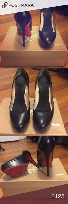 Christian Louboutin Bianca pump Bianca 140mm black pump. In original box. Re-soled by an authorized cobbler, but could use another trip. Leather in great condition, heels are slightly damaged Christian Louboutin Shoes Heels