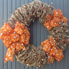 Burlap wreath/fall wreath/Candy corn/burlap and berries/fall decor/Halloween by TranquilitybyAney on Etsy