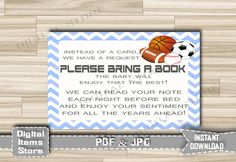 Bring a Book Instead of a Card Sports - Invitation Insert Card All Stars - Insert Card Sports, Football, Baseball - INSTANT DOWNLOAD - asg by DigitalitemsShop on Etsy