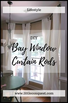 DIY: Bay Window Curtain Rods – Little Conquest - Homemade Curtains. Bay Window Curtains Living Room, Bay Window Decor, Bay Window Curtain Rod, Window Curtain Rods, Diy Bay Window Blinds, Curtains For Bay Windows, Windows Decor, Room Window, Window Seats