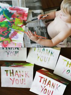 Day 5 - thank you cards for great grandmas and great aunts! This was a really fun collaboration with the toddler. I'm purposely not showing the photos where she was crying because she wanted the paint bottles and the paint water and to paint on herself and to paint on our furniture.    http://lessconsumingmorecreating.blogspot.com/