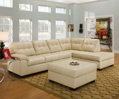 Small cream leather sectional sleeper sofa with chaise