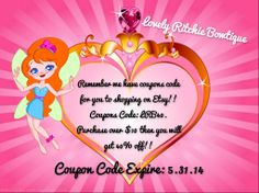https://www.etsy.com/shop/LRSBowtique Etsy Shopping - Coupon Code!  Expire by May 31st, 2014! Pin & Share!