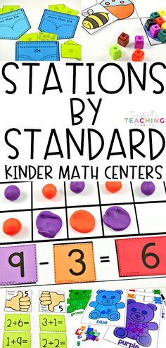 """Math Stations by Standard Kindergarten for the entire year! These math centers by math strand are engaging & hands-on. Perfect for math center games during math rotations in Kinder. These math stations are collaborative, interactive and differentiated. Covers numbers 0-10, 11-20, comparing numbers, addition, subtraction, shapes & solids, graphs, measurement, and coins. To learn more about """"Math Stations by Standard"""", visit www.tunstallsteachingtidbits.com"""