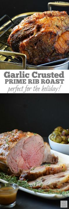 Garlic Crusted Prime Rib Roast - 17 Easter Dinner Ideas for an Everlasting Famil. - Garlic Crusted Prime Rib Roast – 17 Easter Dinner Ideas for an Everlasting Family Feast - Beef Dishes, Food Dishes, Main Dishes, Healthy Dishes, Rib Recipes, Cooking Recipes, Recipes Dinner, Recipies, Family Recipes