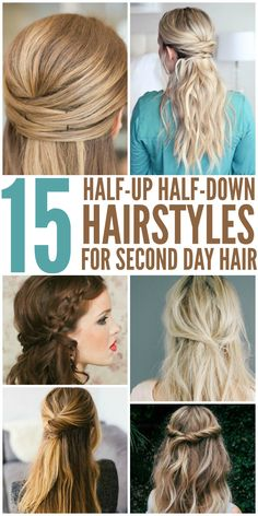 15 Half Up Hairstyles for Second Day Hair Looking for Easy Hairstyles Half-Up, Half-down? For those casual days when you just don't have time to wash or mess with your hair. These simple hair ideas look great for. Second Day Hairstyles, Daily Hairstyles, Easy Hairstyles For Long Hair, Straight Hairstyles, Layered Hairstyles, Halfway Up Hairstyles, Running Late Hairstyles, Wedge Hairstyles, Fast Hairstyles