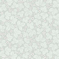 Förtjusande tapet med slingrande revor av smultronblad som mönsterbild, för mindre och medelstora rum. I denna milda gröna färgställning med sin mjuka yta ger tapeten en behaglig ombonad känsla.