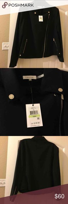 Calvin Klein Ladies Black Jacket Size 18 NWT Ladies Jacket with Silver Hardware Calvin Klein Jackets & Coats