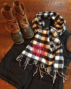 This is the perfect outfit!!!  puffer vest $30  with plaid monogrammed scarf $20 from the PinkyGirl. wwwthepinkygirl.com  Check it out!!!