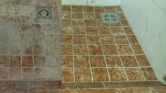 shower - before and after professional cleaning Artificial Stone, Daily Cleaning, Kitchen Worktop, Cast Stone, Professional Cleaning, Stone Flooring, Natural Stones, Tile Floor, Restoration