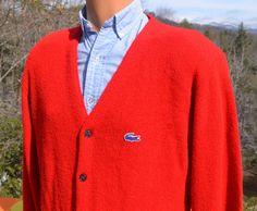 385d7327f4 70s vintage izod lacoste CARDIGAN sweater golf knit v-neck red Medium  preppy 80s