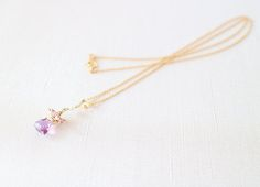 Amethyst & Spinel & Pearl 14KGF Necklace