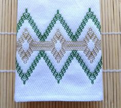 Tea Towel Dish Towel Swedish Weaving Green and Gold by SnowboundMe, $16.00