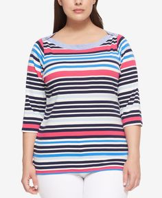 Tommy Hilfiger Plus Size Cotton Striped Boat-Neck Top