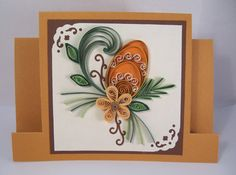 Easter Card with Quilled Easter Egg and Flower - Paper Handmade Greeting Card - Quilling Egg and Flower
