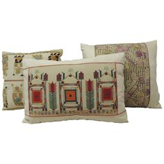 19th Century Turkish Embroidery Decorative Pillows | From a unique collection of antique and modern pillows and throws at https://www.1stdibs.com/furniture/more-furniture-collectibles/pillows-throws/