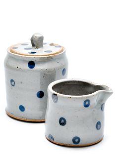 I LOVE pottery!!!! Polka Dot Cream & Sugar Set