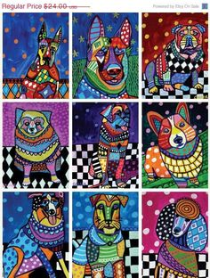 Abstract Art Dogs ACEO card set of 9 prints  by HeatherGallerArt, $15.60