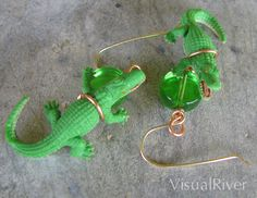 Green Alligator Dangle Earrings by visualriver on Etsy, $14.99