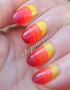 ombre or gradient stripe manicure from yellow to orange Take Two Nail Art Challenge