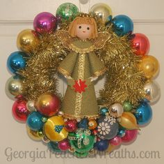"Image of Vintage Shiny & Brite Christmas Ornament Wreath 10914 - 14"" diameter"