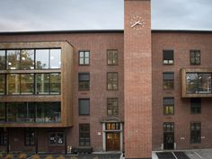 Various Architects designed Lokomotivstallen, an office building created from a former industrial structure in Oslo. Contemporary Office, Pop Out, Architect Design, Train Station, Oslo, Offices, Norway, Architects, Brick