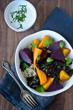 Roasted beet, quinoa and tahini bowl. I recommend decreasing quinoa by half to keep total carbs in check! (TG)