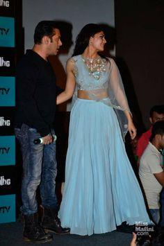 Jacqueline Fernandez wearing a Shehlaa Khan lehenga