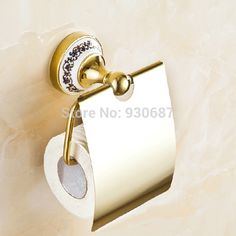 Free Ship Gold Finish Bath Soild Brass Toilet Roll Tissue Holder Wall Mounted #Affiliate