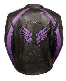 Ladies Purple Inlay Angel Wings Black Leather Motorcycle Jacket w/ Rivet Detail