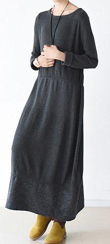 83be81696 Original winter fine cotton dresses dark gray knit maxi dresses oversized  knit