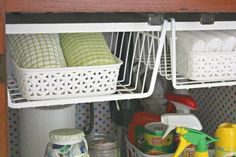 """Crafts a la mode : My """"Under the Sink"""" Makeover Add shelf high in cabinet to hold wire baskets. Good idea!"""