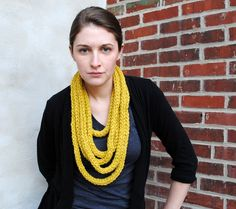 Items similar to the Mildred knit crochet necklace in citron yellow - READY TO SHIP on Etsy Knitting Accessories, Hand Knitting, Knit Crochet, Crochet Necklace, Vintage Outfits, Ship, Trending Outfits, Yellow, Unique Jewelry