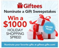 Win a 1000dollar holiday shopping spree! Just nominate your favorite gift ideas #2012Giftees http://giftees.gifts.com