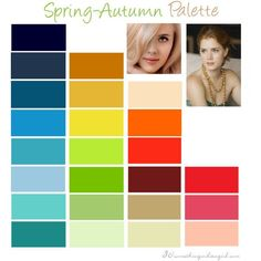 Warm Spring color palette: This seasonal color palette is also known as True Spring because you're flowing into Autumn which is another warm season. This creates a lovely and warm coloring. Your colors have to be warm and clear. Bright Spring, Warm Spring, Clear Spring, Deep Autumn, Warm Autumn, Spring Color Palette, Spring Colors, Color Type, Type 1