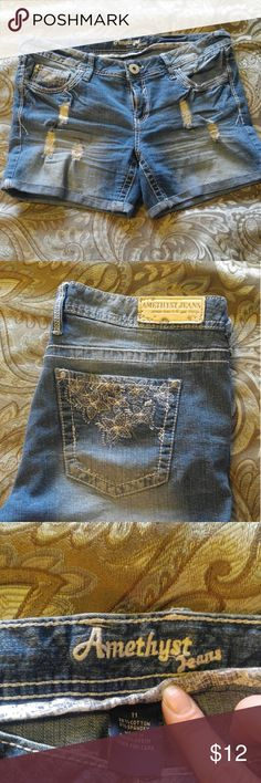 Distressed jean shorts Amethyst jean shorts. Size 11, worn maybe twice. I'm excellent condition. Amethyst Shorts Jean Shorts