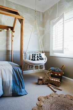 Kyal and Kara's Central Coast Australia home renovation - getinmyhome. Children's bedroom styling - love this hanging chair and rug. Coastal Bedrooms, Luxurious Bedrooms, Luxury Bedrooms, Modern Bedrooms, Master Bedrooms, Renta Casa, Bedroom Furniture, Bedroom Decor, Bedroom Ideas