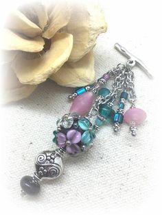 ** Interchangeable Handmade Floral Glass Beaded Dangle Necklace #1024D @beaddangledesign