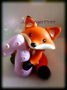 First Birthday cake topper fox cake topper by JustFingerPrint