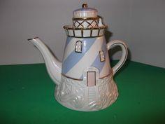 Lenox China Seaside Lighthouse Teapot 24K Gold Trim Fine Ivory China 2003 | eBay